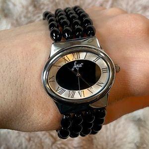 Aria Black Faux Onyx Beaded Ladies Watch